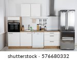 interior view of modern kitchen ... | Shutterstock . vector #576680332