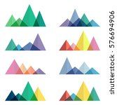 mountains low poly style set.... | Shutterstock .eps vector #576694906