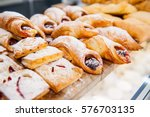 close up freshly baked pastry... | Shutterstock . vector #576703135