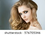 beauty fashion model face close ... | Shutterstock . vector #576705346