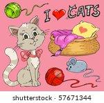 Stock vector cat cartoon clip art collection 57671344