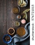 different spices on a wooden... | Shutterstock . vector #576721015
