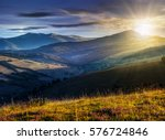 day and night time change of landscape with purple savory flowers among the grass on the hillside in mountains  - stock photo