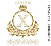 golden patterned letters and... | Shutterstock .eps vector #576734266