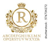 golden patterned letters with... | Shutterstock .eps vector #576734272