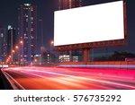 blank billboard on light trails ... | Shutterstock . vector #576735292