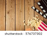 movie clapper board and popcorn ... | Shutterstock . vector #576737302