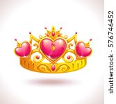 beautiful golden princess crown ... | Shutterstock .eps vector #576746452