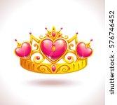 beautiful golden princess crown ... | Shutterstock .eps vector #576746452