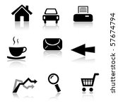 set of 9 black and white icons | Shutterstock .eps vector #57674794