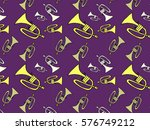 hand drawn trumpet pattern icon ... | Shutterstock .eps vector #576749212
