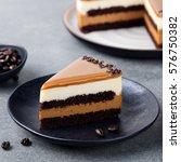 caramel cake  mousse dessert on ... | Shutterstock . vector #576750382