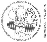cool skull champion logo iron... | Shutterstock .eps vector #576752875