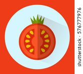flat tomato isolated with blue... | Shutterstock .eps vector #576777976