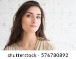 beautiful woman girl natural... | Shutterstock . vector #576780892