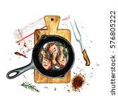 chicken drumsticks in a frying... | Shutterstock . vector #576805222