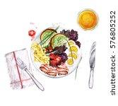 breakfast or lunch food platter.... | Shutterstock . vector #576805252