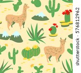 seamless pattern with alpaca  ... | Shutterstock .eps vector #576812962