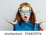 woman glasses  a lot of points... | Shutterstock . vector #576825976