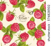 Vector Raspberry Tea Seamless...