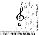 music   violin key with piano...   Shutterstock .eps vector #576834682