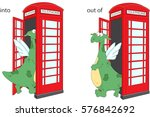 cartoon dragon goes into and... | Shutterstock .eps vector #576842692