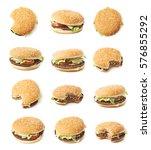 fresh cooked hamburger isolated ...   Shutterstock . vector #576855292