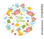 hello spring greeting card.... | Shutterstock .eps vector #576858982