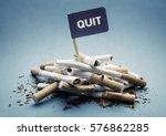 quit or stop smoking concept... | Shutterstock . vector #576862285