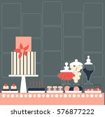 candy buffet with cake. wedding ... | Shutterstock .eps vector #576877222