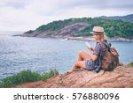 travel concept. young woman... | Shutterstock . vector #576880096