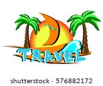logo tourism. island with palm... | Shutterstock .eps vector #576882172