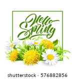 inscription hello spring hand... | Shutterstock .eps vector #576882856