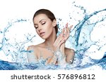 beautiful model spa woman with... | Shutterstock . vector #576896812