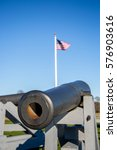 Small photo of A Model 1918 24-pounder cannon at Fort Phoenix on a bright day in Massachusetts.