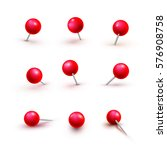 set of push pins in different... | Shutterstock .eps vector #576908758