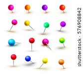 vector push pins isolated on... | Shutterstock .eps vector #576908842