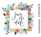 save the date hand lettering... | Shutterstock .eps vector #576929476