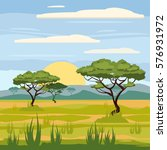 african landscape  savannah ... | Shutterstock .eps vector #576931972