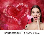 fashion woman with red heart.... | Shutterstock . vector #576936412