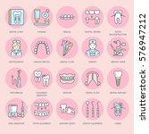 dentist  orthodontics line... | Shutterstock .eps vector #576947212