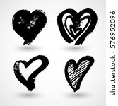 grunge hearts. shapes for your... | Shutterstock .eps vector #576952096