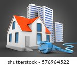 3d illustration of house over... | Shutterstock . vector #576964522