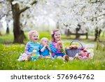 little children eating lunch... | Shutterstock . vector #576964762