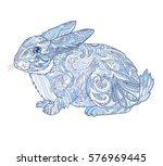 rabbit doodle illustration... | Shutterstock .eps vector #576969445