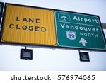 vancouver airport road sign... | Shutterstock . vector #576974065