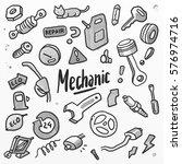 car mechanic set. doodling... | Shutterstock . vector #576974716