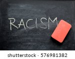 Small photo of erasing racism, hand written word on blackboard being erased concept