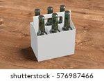 six bottles white blank beer... | Shutterstock . vector #576987466