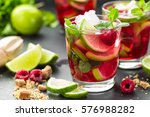 raspberry mojito cocktail with... | Shutterstock . vector #576988282